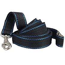 "Heavy Duty Nylon Secure Carabiner Dog Leash 1.4"" Wide, 6ft Length with Leather Padded Handle XLarge, Great Dane, Cane Corso"