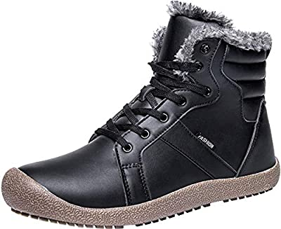 JIASUQI Outdoor Waterproof Ankle Winter Warm Fur Snow Boots for Women Men