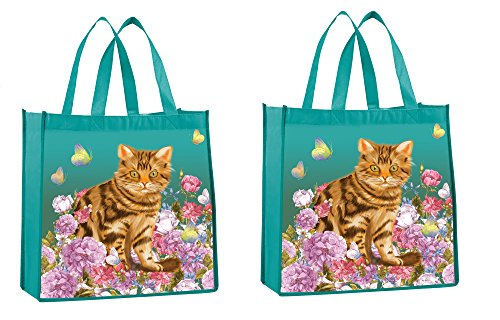 Reusable Shopper Tote - Tote Bags - Reusable Shopping Bag, Heavy Duty, Eco Friendly Garden Cat Utility Bag, Set of 2