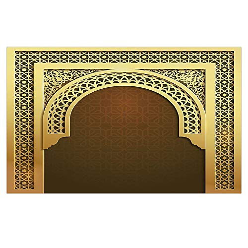 iPrint 3D Floor/Wall Sticker Removable,Moroccan,Middle Eastern Ramadan Greeting Scroll Arch Figure Celebration Holy Eid Theme,Golden Brown,for Living Room Bathroom Decoration,35.4x23.6