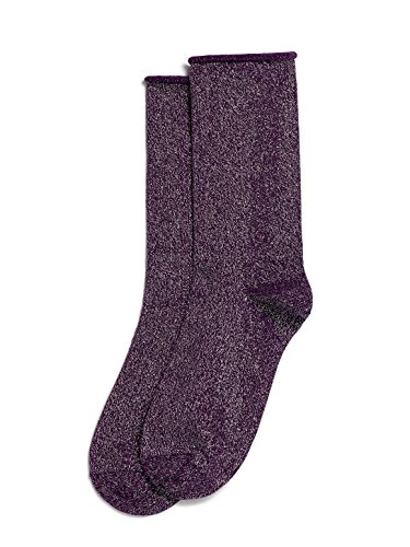 Hue Women's Metallic Roll Top Sock, Eggplant/Silver, Medium