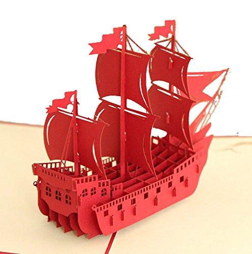 lovely-paper-card-3d-pop-up-folding-postcard-boat