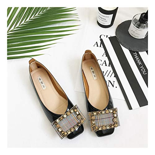 Negro Inferior Wild Shoes Superficial Soft Bean Gris Antideslizante Mujeres Retro WULIFANG 36 PU Plaza Confort Zwxvn6EqX