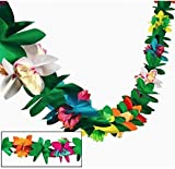 Tissue Flower Garland, Set of 3 Streamers, Tropical, Luau Party Garlands