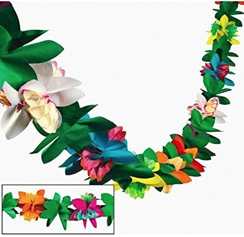 Tissue Flower Garland, Set of 3 Streamers, Tropical, Luau Party Garlands by Fun Express