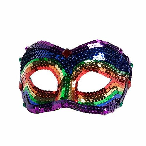 Forum Novelties Deluxe Sequin Half Venetian Mask, Rainbow Fantasy