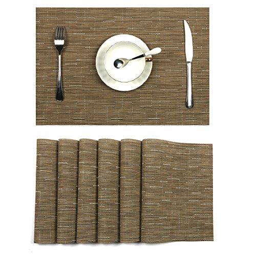 U'Artlines Placemats, Heat-Resistant Placemats Stain Resistant Anti-Skid Washable PVC Table Mats Woven Vinyl Placemats, Set of 6 (6pcs placemats, -