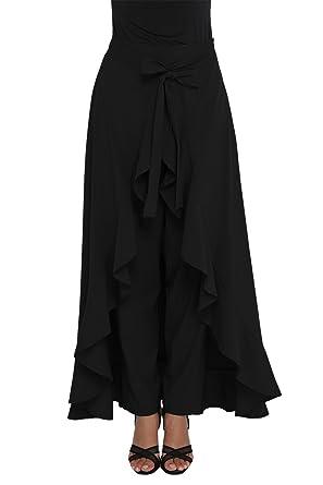 db431fbabc Eastylish Chiffon Tie-Waist Trousers Maxi-Skirt Overlayed Wide Legs Ruffle  Palazzo Pants Black