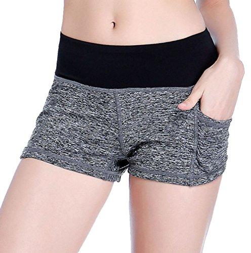 Vita A Tasca Nero Loveble Da Donna E Intera Pantaloncini Grigio Sportivi Yoga Palestra Con qX6S61R