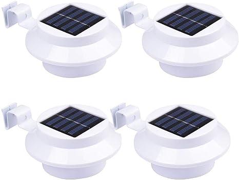 4pcs Luces Solares Jardín Exterior Luces Solares Para Valla 3 LED ...