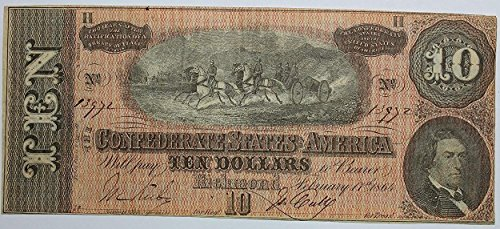 1864 Richmond Confederate States of America Hand Signed Original Note (Please See Description) $10 Crisp Uncirculated #80