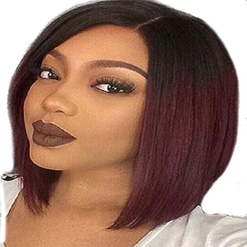 RedBrowm Women Short Straight Gradient Color Hairstyle Synthetic Hair Full Wig