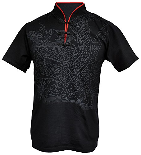 Cotton Mens Chinese Collar Shirt - Amazing Grace Men's Chinese Collar Traditional Top Cotton Tee Shirt (X-Large, Black Dragon Power)