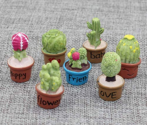 (Astra Gourmet Mini Cactus Figurines - Collectible Statues Plant Figures - Set of 7 )