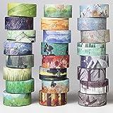 Autumn Water 24 Rolls Washi Tape Set - Spring Summer Autumn Winter Theme Masking Sticker Tape Adhesive for DIY Decoration Scrapbooking Craft