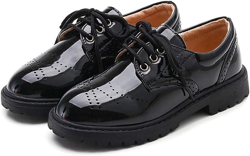 New Boys Brogue Classic Dress Shoes Black Lace Up Kids Formal School Oxford Shoe