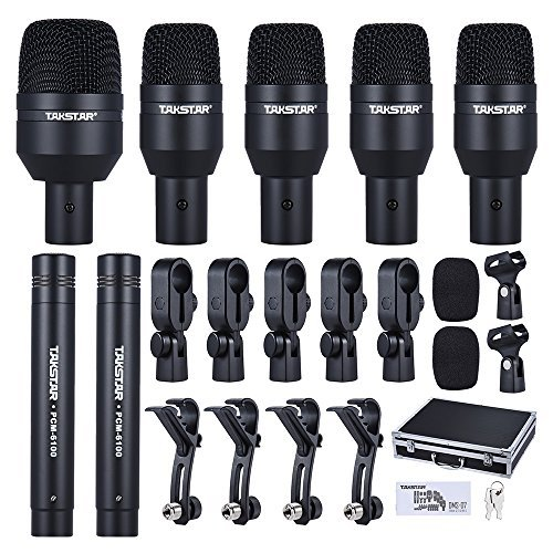 - ammoon TAKSTAR DMS-D7 Drum Set Wired Microphone Mic Kit with Standard Mounting Accessories Carrying Case 1 Big Drum Microphone 4 Small Drum Microphones 2 Condenser Microphones