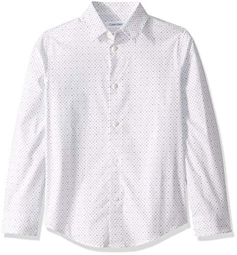 Calvin Klein Big Boys'  Long Sleeve Printed Button-Down Dress Shirt, Logo White, 6