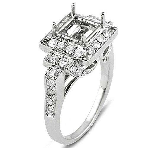 (Dazzlingrock Collection 0.70 Carat (ctw) 18K Round Cut Diamond Vintage Semi Mount Engagement Bridal Ring, White Gold )