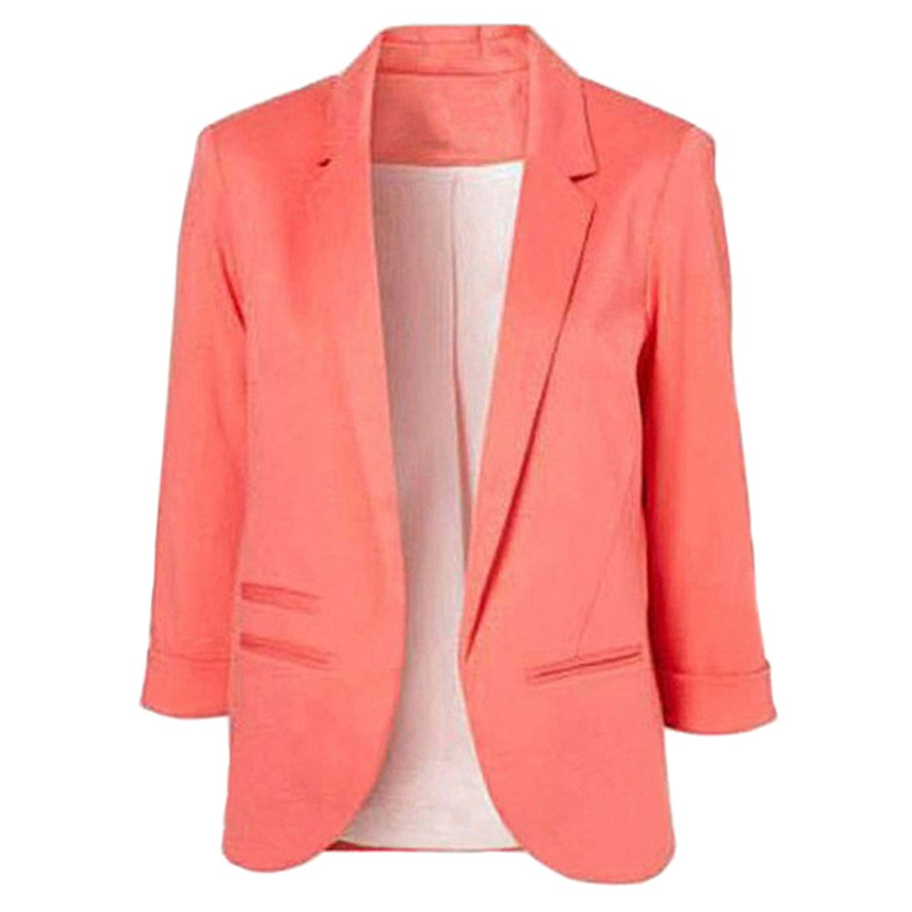 Lrud Women's Fashion Cotton Rolled Up 3/4 Sleeve Slim Office Blazer Jacket Suits Red XL