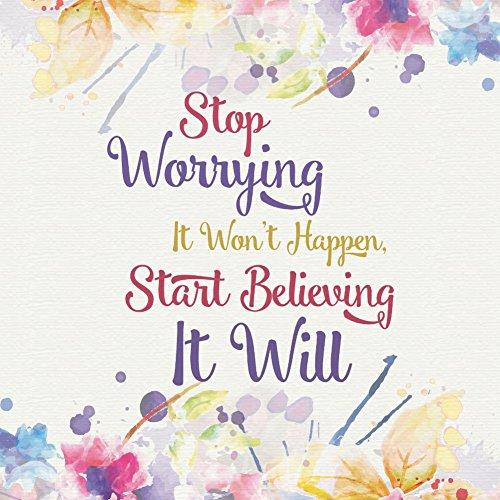Stop Worrying It Won?t Happen Start Believing It Will Quote Splatter Watercolor Paint Canvas Print Background Inspirat (Paint Splatter Background)