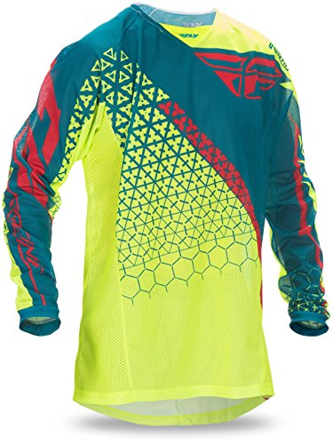 Fly Racing Hi-Viz-Teal 2017 Kinetic Mesh Trifecta Mx Jersey (L, Blue)