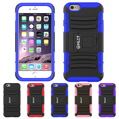 Price comparison product image iPhone 6s Plus, iPhone 6 Plus Stand Case, HLCT Rugged Shock Proof Dual Layer Case with Built in Kickstand (Blue)