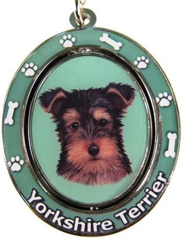 Yorkie Cachorro Clave Cadena Spinning Pet Clave Cadenas Centro de ...