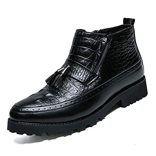 HONGkeke Men's High Top Ankle Boots Casual Crocodile Texture Classic Fringed Formal Dress Shoes (Warm Optional) Durable (Color : Black, Size : 6 D(M) US) ()
