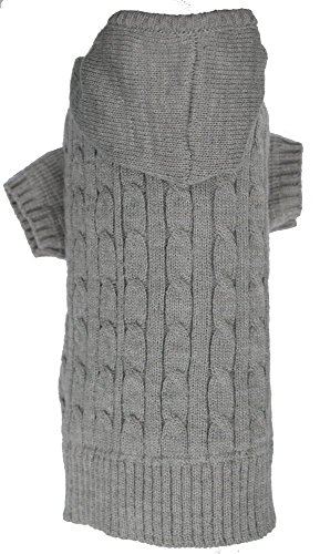Lanyar Cable Pet Sweater Hoodie for Dogs, Medium, Gray by Lanyar