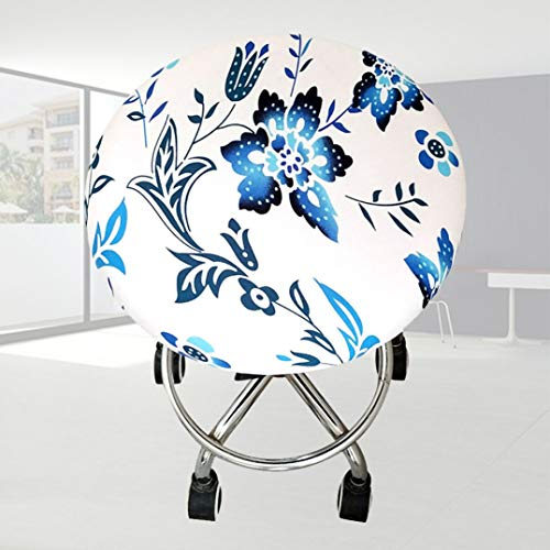 Round Chair Cover Polyester Seat Bar Elastic Soft Office Four Seasons Meeting Ornament Stool Floral Printed Home ()