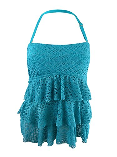 Island Escape Womens Sky Above Tiered Crochet Tankini Top 10 Turquoise (Island Crochet)