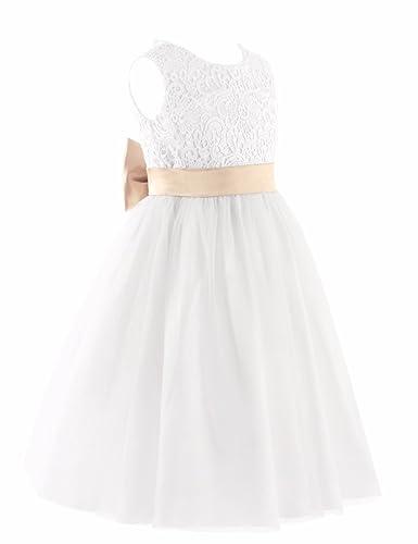 iEFiEL Vestido Blanco de Princesa Fiesta Ceremonia Boda Vestido Floreado Bautizo para Niña (2-12 Años) Espalda al Aire: Amazon.es: Ropa y accesorios