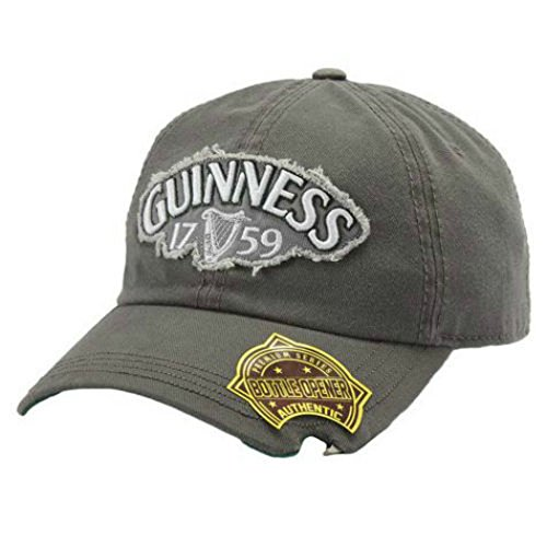 Guinness Beer Gray Baseball Cap With Bottle Opener Built Right Into the Brim