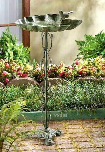 - Montree Shop Metal Stand Alone Bird Bath Seed Feeder Ivy Vine Pole Outdoor Lawn Garden Decor