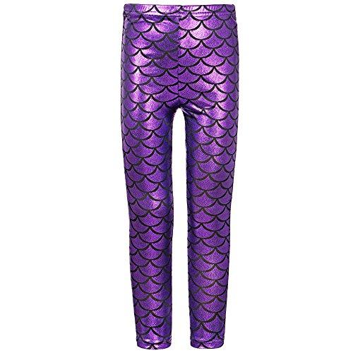 TFJH E Little Girls Sparkly Fish Scale Stretch Leggings Pants Purple 140