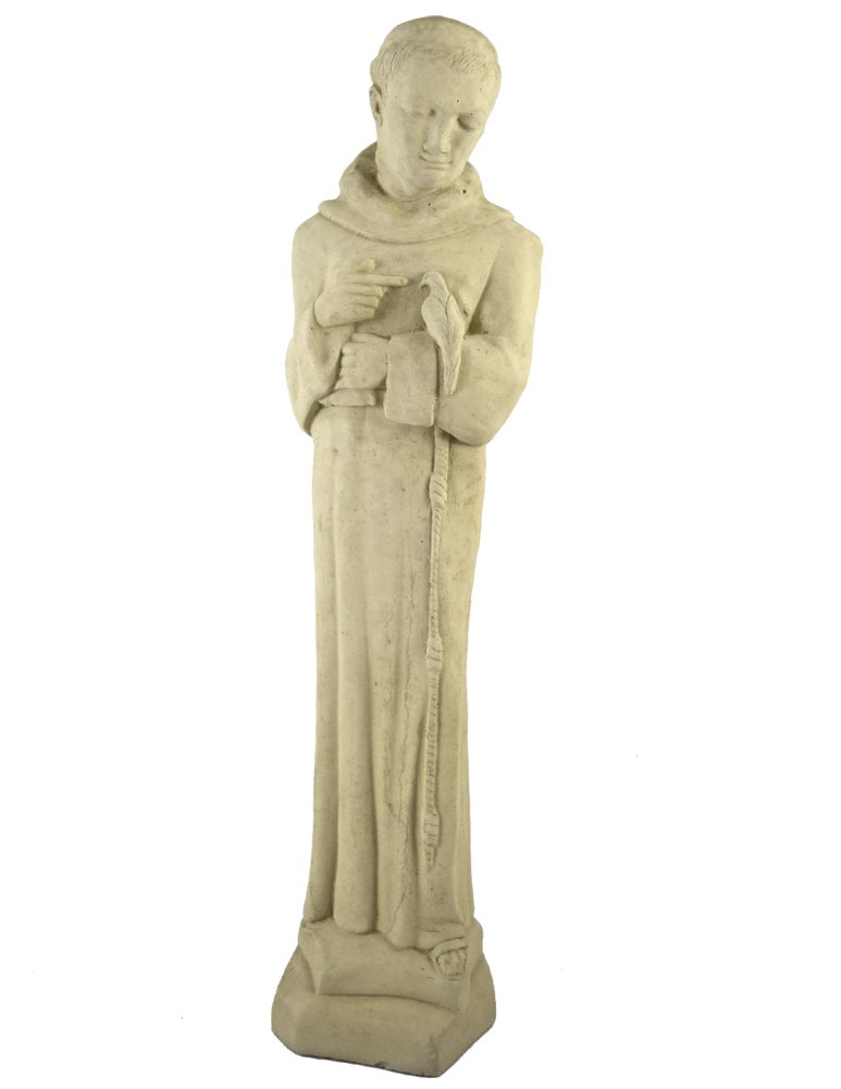 """American Made Vintage Mission-Style St Francis with Dove Concrete Garden Statue, 24"""""""