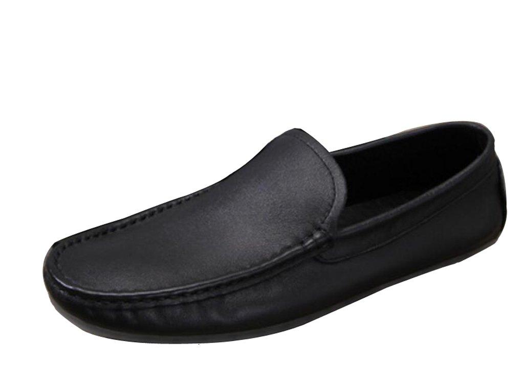 GUOPIN Männer Handgemachte Erbsen Schuhe Leder Bequeme Beiläufige Beiläufige Beiläufige Atmungsaktive Schuhe Runde Kopf Mode Reise Einzelne Schuhe,schwarz,43 5ddd92