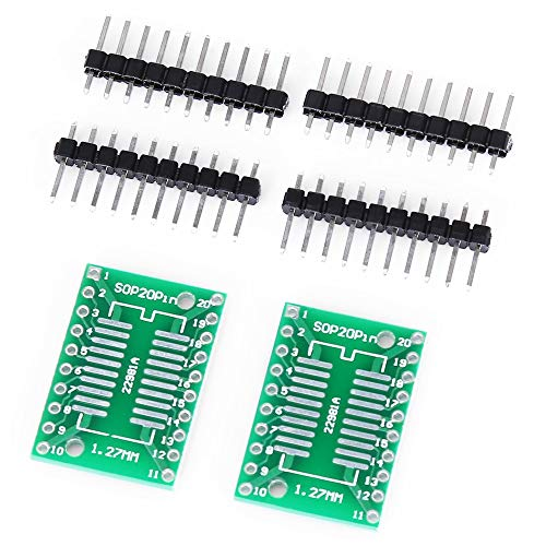 AN-JING SOP20 / SSOP20 / TSSOP20 SMD to DIP20 Adapter Board w/Headers for Arduinos -2pcs Accessory Replacement Parts