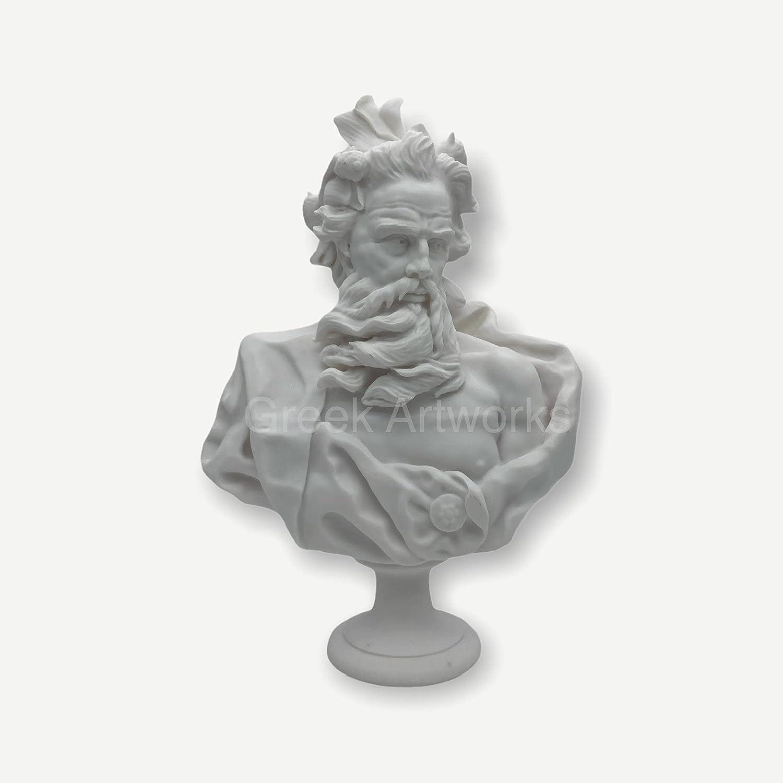 Neptune Poseidon Bust Head Greek Roman God Statue Sculpture Cast Marble Museum Copy