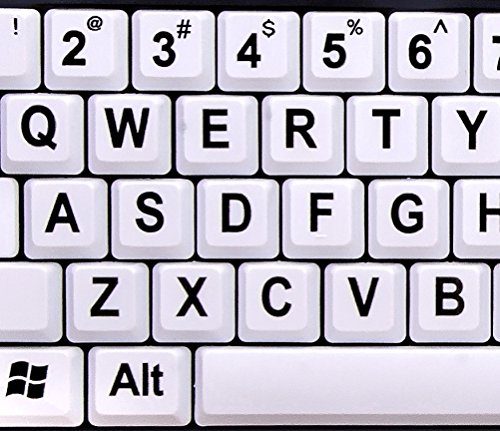 Nuklz Large Print Computer Keyboard Wired USB White Keys - White keys with high contrast letters
