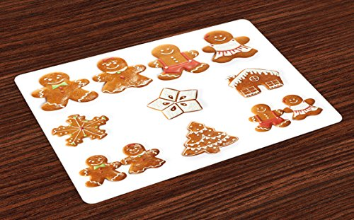 Ambesonne Gingerbread Man Place Mats Set of 4, Vivid Cute Christmas Gingerbread Biscuits Set Snowflake House Tree, Washable Fabric Placemats for Dining Room Kitchen Table Decor, Pale Brown White ()