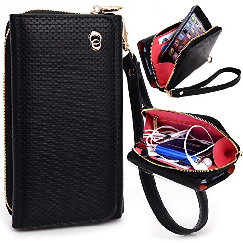 NuVur Perfect Universal Patent Faux Leather Smartphone Wallet Clutch Fits HP Slate S7-4200US|Woven Black