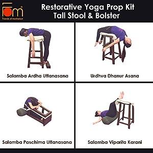 Friends of Meditation Restorative Kit (Tall Stool & Bolster) Prop for Yoga asana and Restorative Yoga (RY-3)