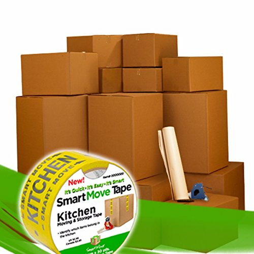 (UBOXES Moving Boxes - 2 Room Bigger Smart Moving Kit - 28 Boxes,Tape,)