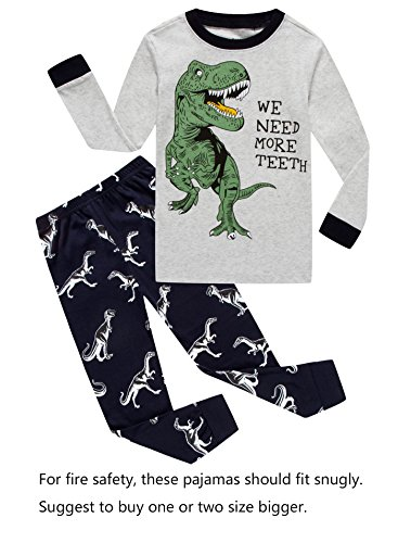 Dinosaur Little Boys Long Sleeve Pajamas 100% Cotton Clothes Size (Boys Pjs Sleepwear)