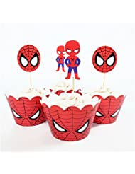 Astra Gourmet 24pcs Spiderman Cupcake toppers and wrappers For Kids Birthday Party Decoration