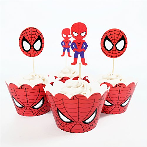 Astra Gourmet 24pcs Spiderman Cupcake toppers and wrappers For Kids Birthday Party Decoration -