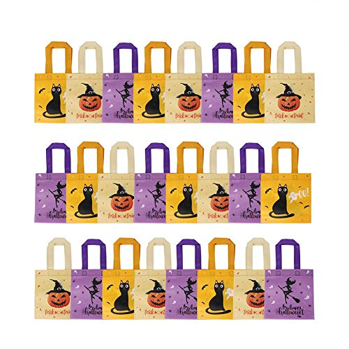 OurWarm 24pcs Halloween Non-woven Tote Bag Trick or Treat Gift Bags with Handles for Halloween Party Favors, 8 x 8 Inch Pumpkin Witch Cat Halloween Party Goodie Bags