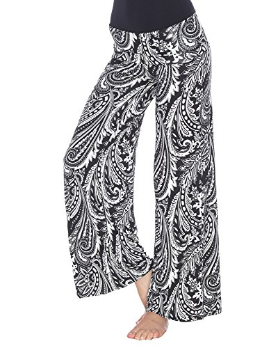 White Mark Women's Wide Leg Palazzo Pants Printed Paisley Floral in Black & White - Medium from White Mark Universal